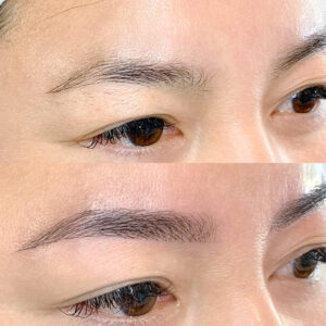 Eyewonderlust Eyelash Extensions - Microblading Feather Stroke - Microblading Feather Stroke Before and After Comparison